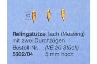 Aeronaut Relingstütze flach mit 2 Durchzügen, 5mm hoch