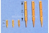 Aeronaut Relingstütze flach mit 3 Durchzügen, 7mm hoch