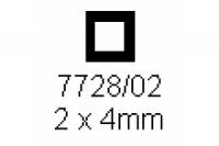 4-kant Rohr 2.0x4.0mm Länge 1000mm