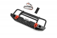 YEAH RACING Aluminum Alloy Front Bumper with LED Light for TRX-4 , SCX10 II Black