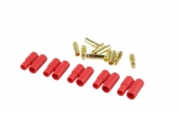 3.5mm Goldstecker, 5 Paare Buchse/Stift mit Gehäuse rot