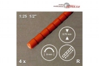 Firstziegel, 1:25 weis, 4 Stangen zu je 400 mm x 9 mm
